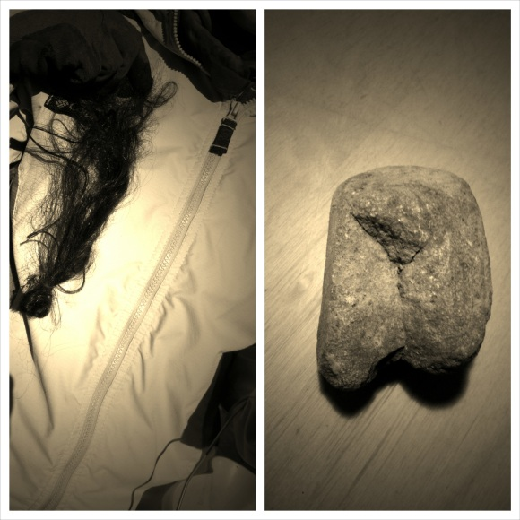 Relics from my day: a found ponytail and a crotch rock that has to go pee.